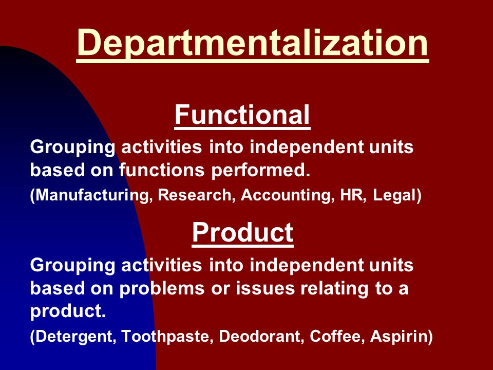Departmentalization Functional Product
