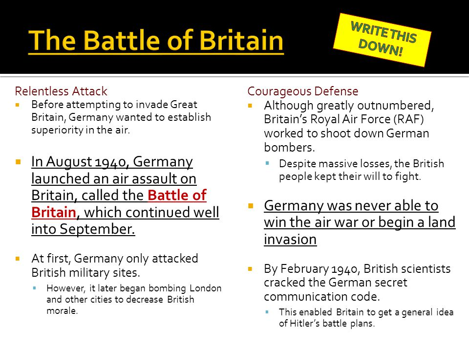 The Battle of Britain WRITE THIS DOWN! Relentless Attack.