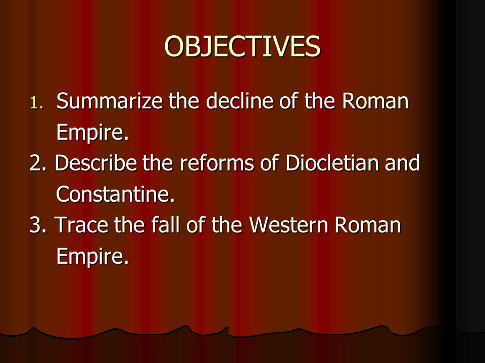 a description of what caused the fall of the western roman empire Fall of western roman empire essaysthe western empire fell in the year 476 ad perhaps the premier cause for this decline was a massive economic crisis the second cause for the decline of.