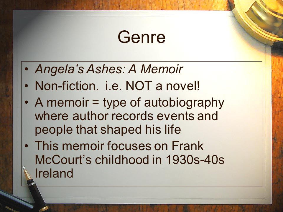 a taste of depression in frank mccourts memoir ashes About samuel french, inc  to find his playwright suffering from a severe case of depression:  been given the opportunity of a lifetime to write her own memoir.