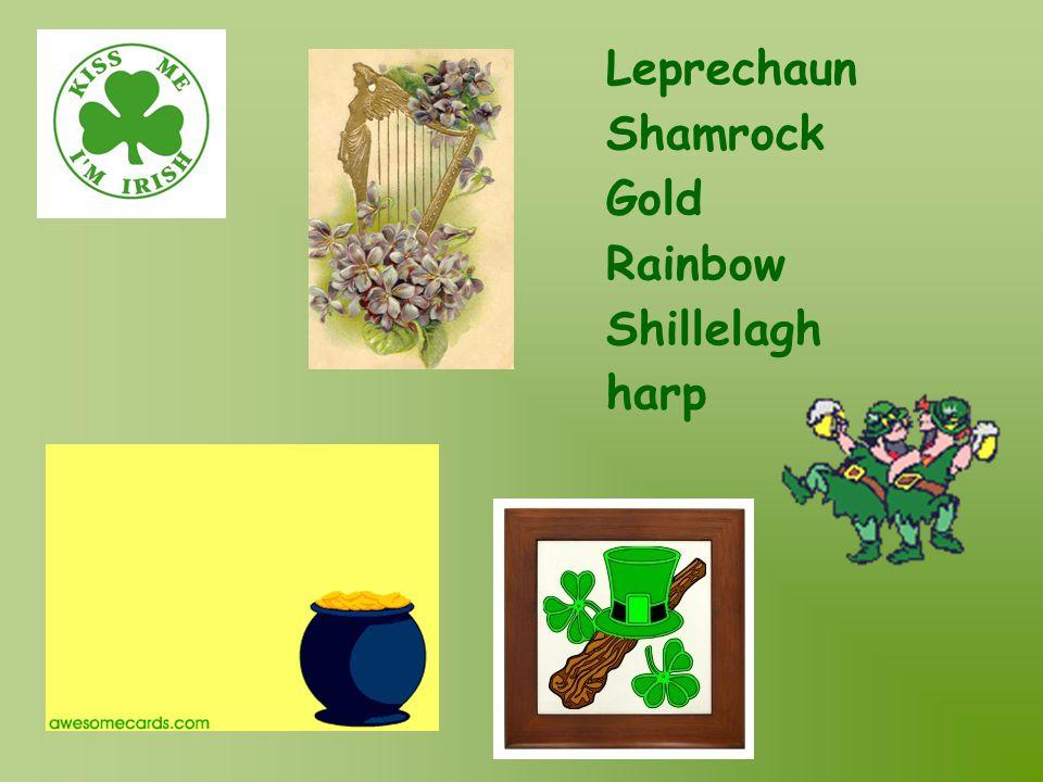 Leprechaun Shamrock Gold Rainbow Shillelagh harp