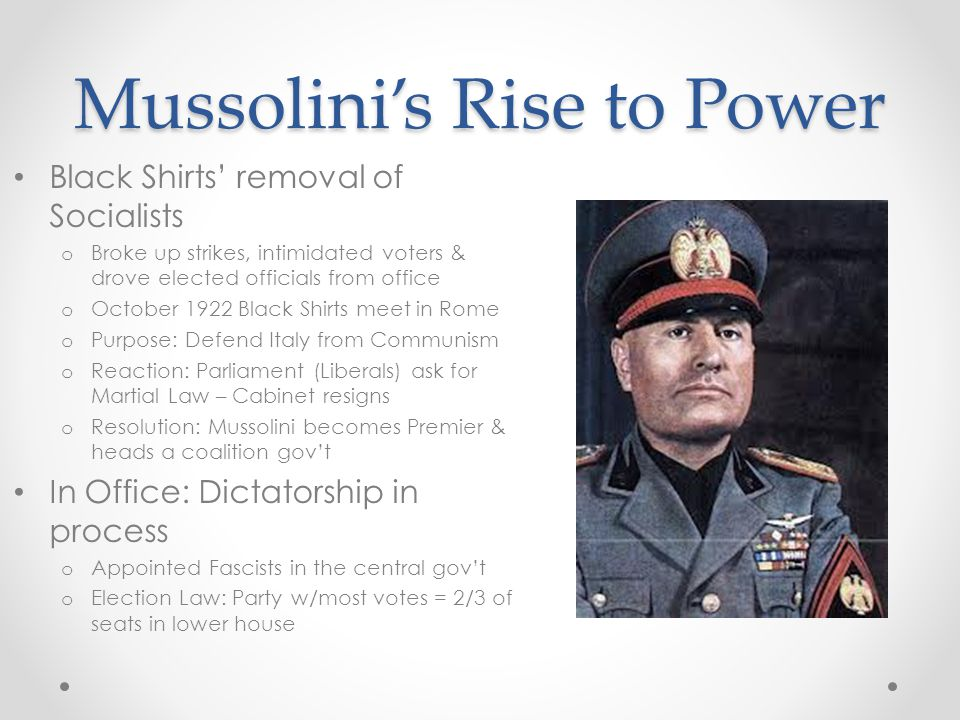 mussolini s increase in power A timeline of hitler's rise to power share flipboard email print thoughtco history & culture european history major figures & events wars & battles the holocaust  october 30: mussolini manages to turn luck and division into an invitation to run the italian government hitler notes his success 1923.