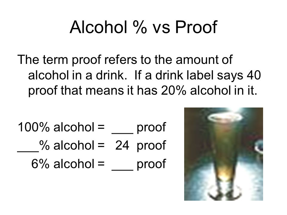 Alcohol % vs Proof The term proof refers to the amount of alcohol in a drink. If a drink label says 40 proof that means it has 20% alcohol in it.