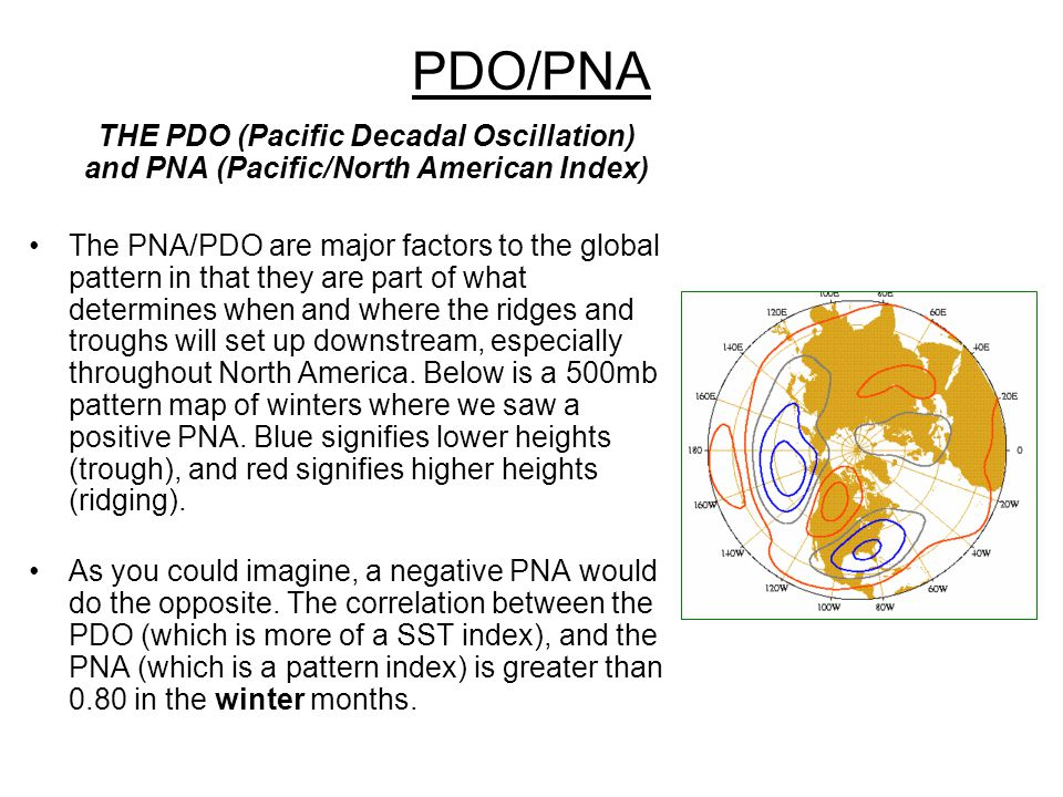 PDO/PNA THE PDO (Pacific Decadal Oscillation) and PNA (Pacific/North American Index)