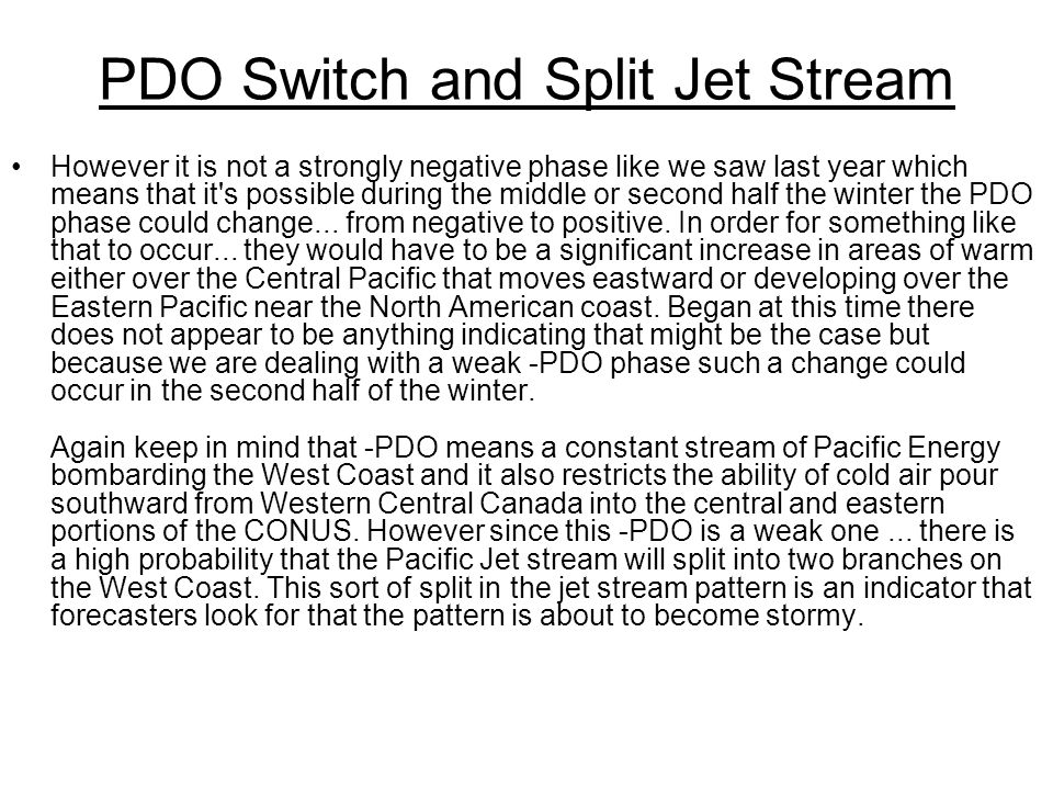 PDO Switch and Split Jet Stream