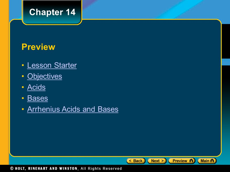 Chapter 14 Preview Lesson Starter Objectives Acids Bases