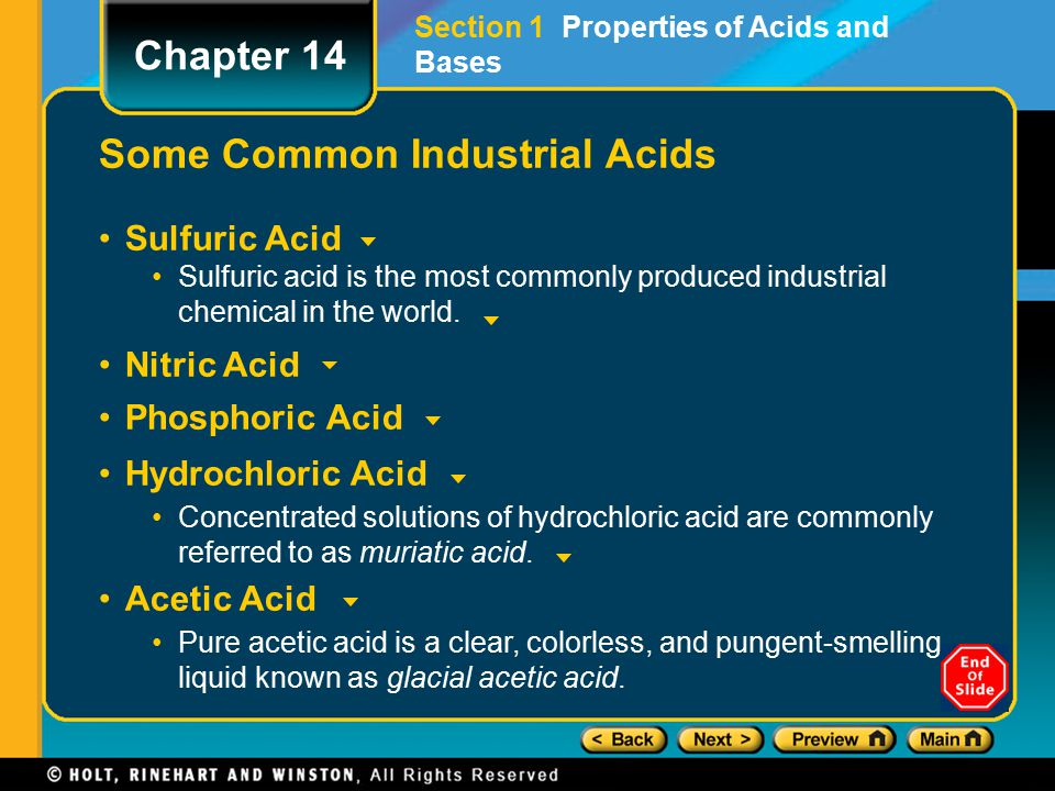 Some Common Industrial Acids