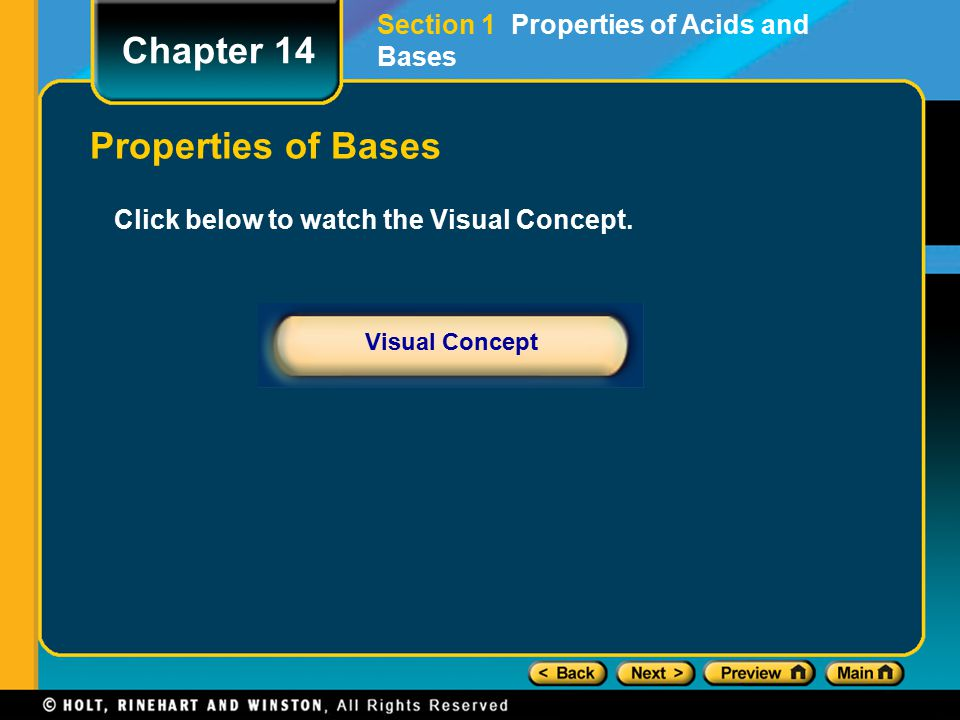 Chapter 14 Properties of Bases Section 1 Properties of Acids and Bases
