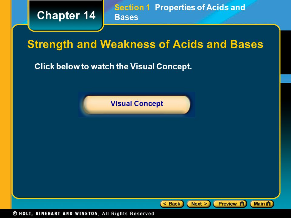 Strength and Weakness of Acids and Bases