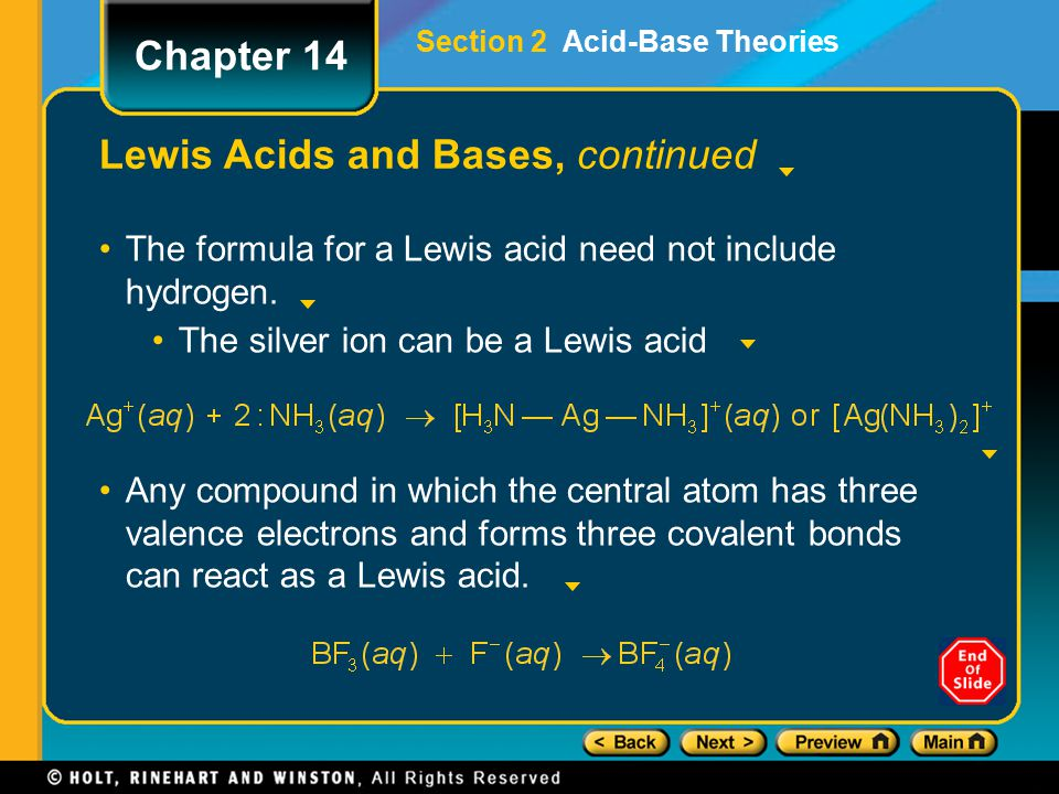 Lewis Acids and Bases, continued