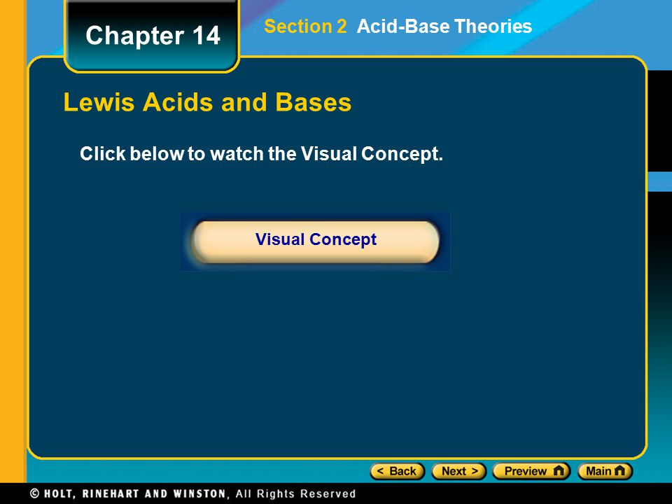 Chapter 14 Lewis Acids and Bases Section 2 Acid-Base Theories