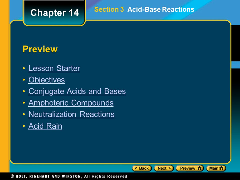 Chapter 14 Preview Lesson Starter Objectives Conjugate Acids and Bases