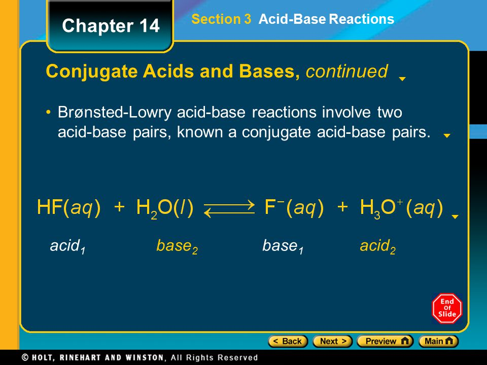 Conjugate Acids and Bases, continued