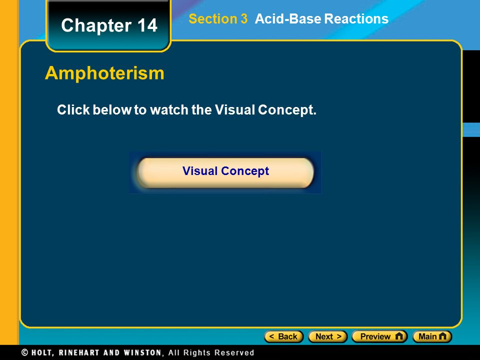 Chapter 14 Amphoterism Section 3 Acid-Base Reactions