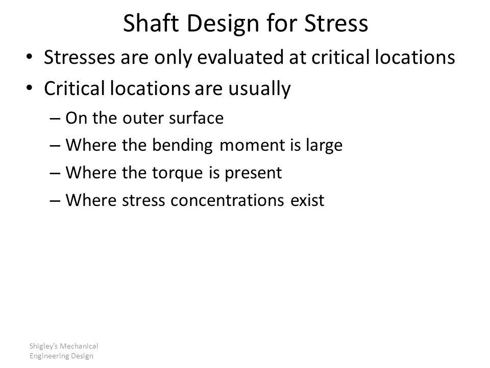 Shaft Design for Stress