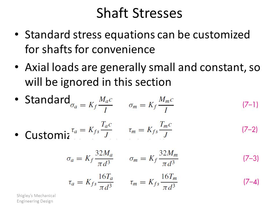 Shaft Stresses Standard stress equations can be customized for shafts for convenience.