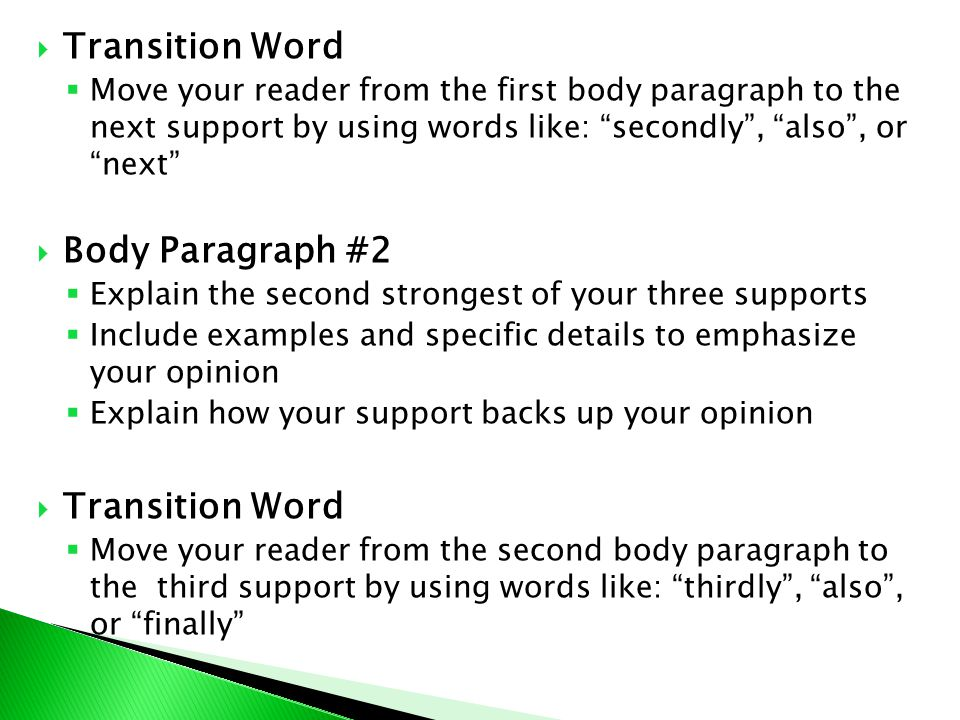 Transition Word Body Paragraph #2