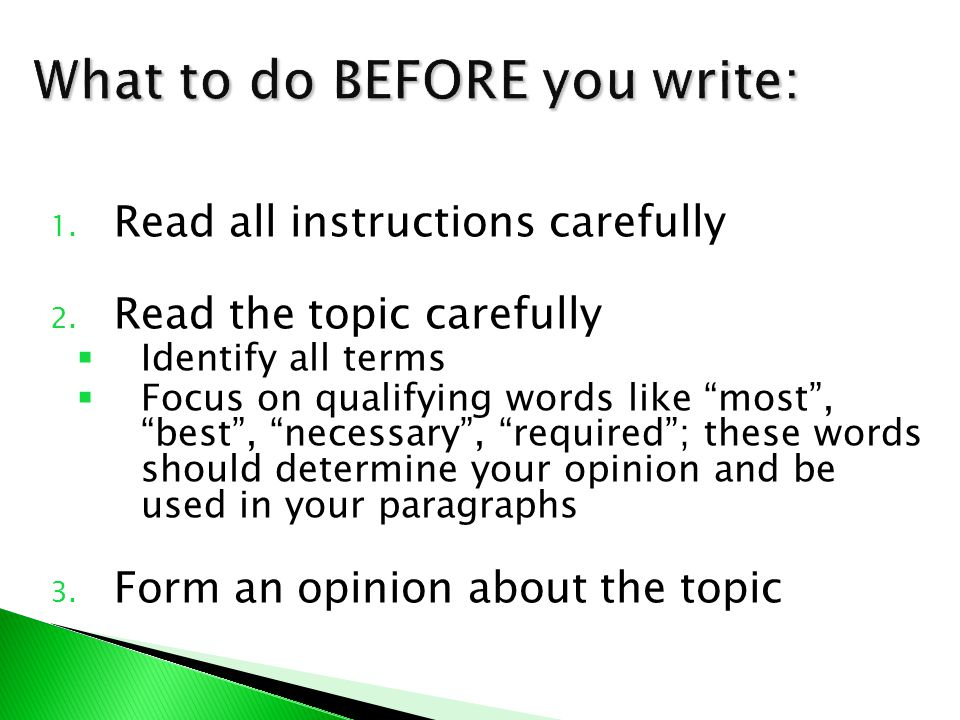 What to do BEFORE you write: