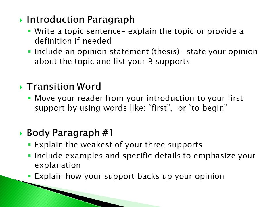 Introductory paragraph in an essay