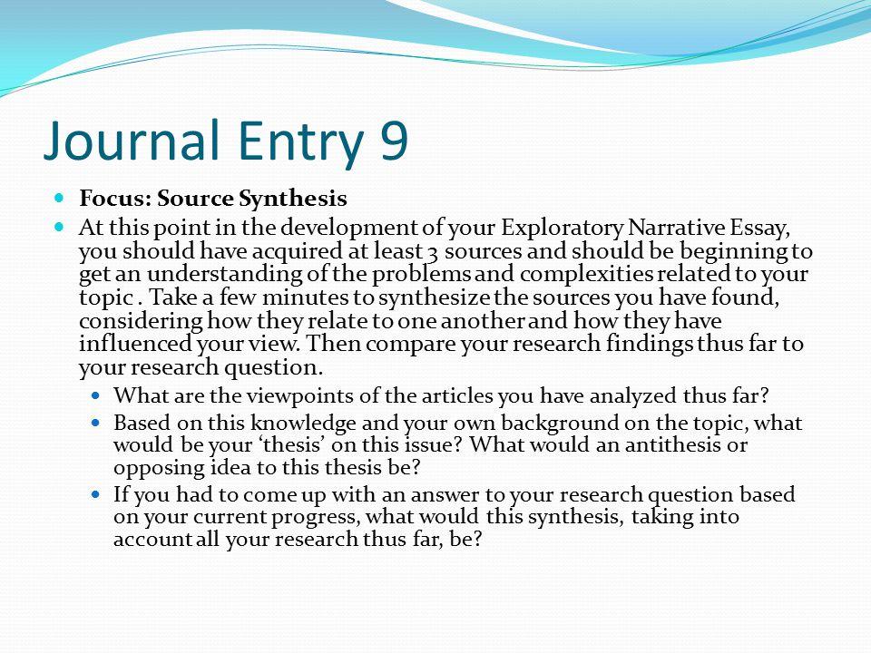 narrative essay journal entry