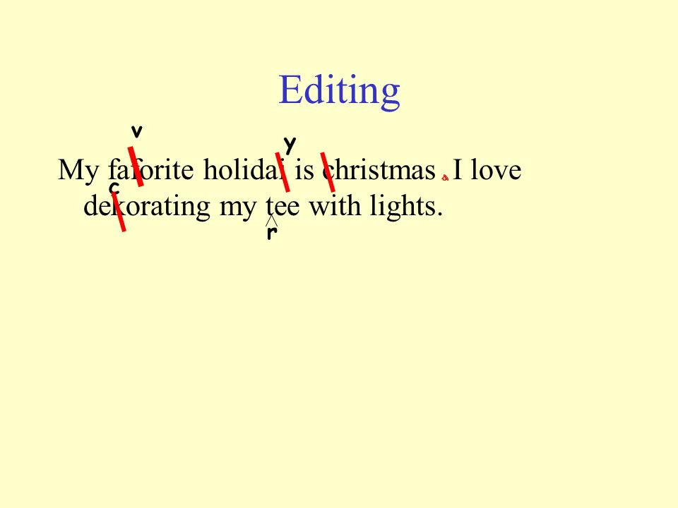 Editing v y My faforite holidai is christmas I love dekorating my tee with lights. c r