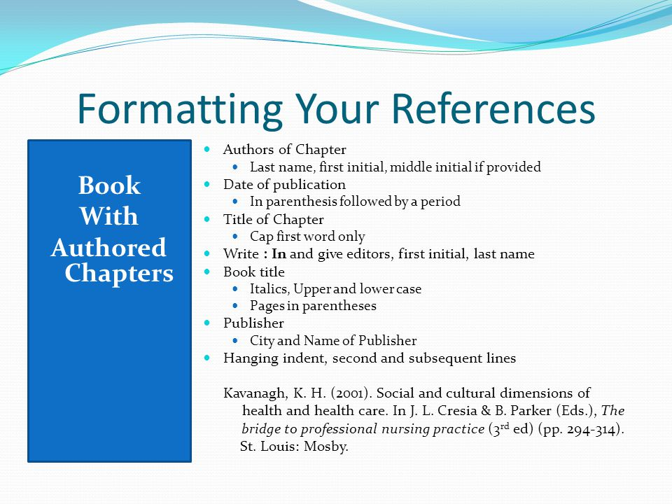 33 Formatting Your References Book With Authored Chapters Authors Of Chapter Last Name