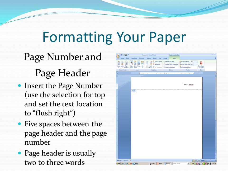 Research paper header and footer
