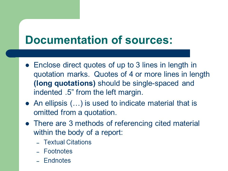 Documentation of sources:
