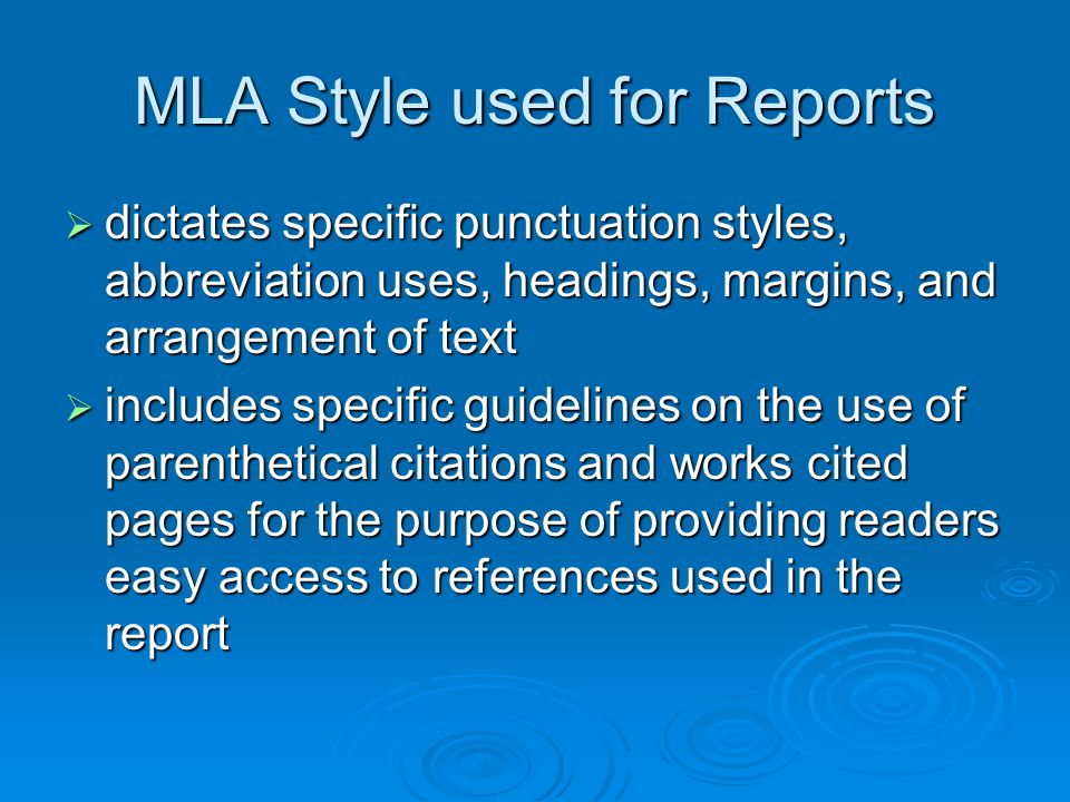 MLA Style used for Reports
