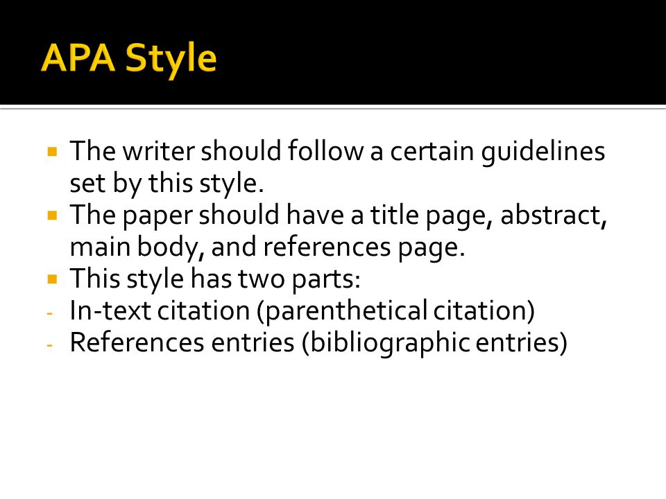apa documentation style Apa documentation style is one of the main international standards for the writing of academic papers if you're seeking apa help and/or resources, this is the place.