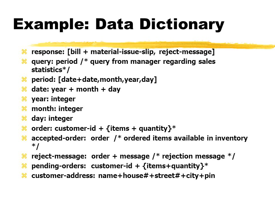 what is a data dictionary example