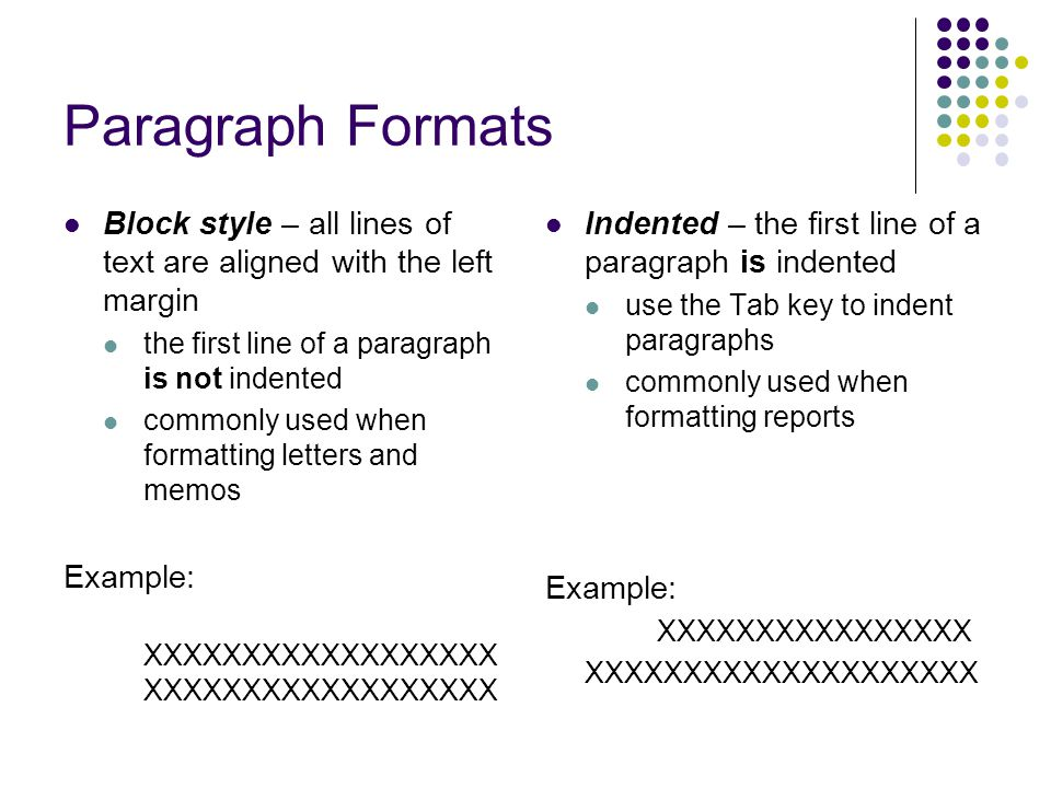 Paragraph Formats Block style – all lines of text are aligned with the left margin. the first line of a paragraph is not indented.