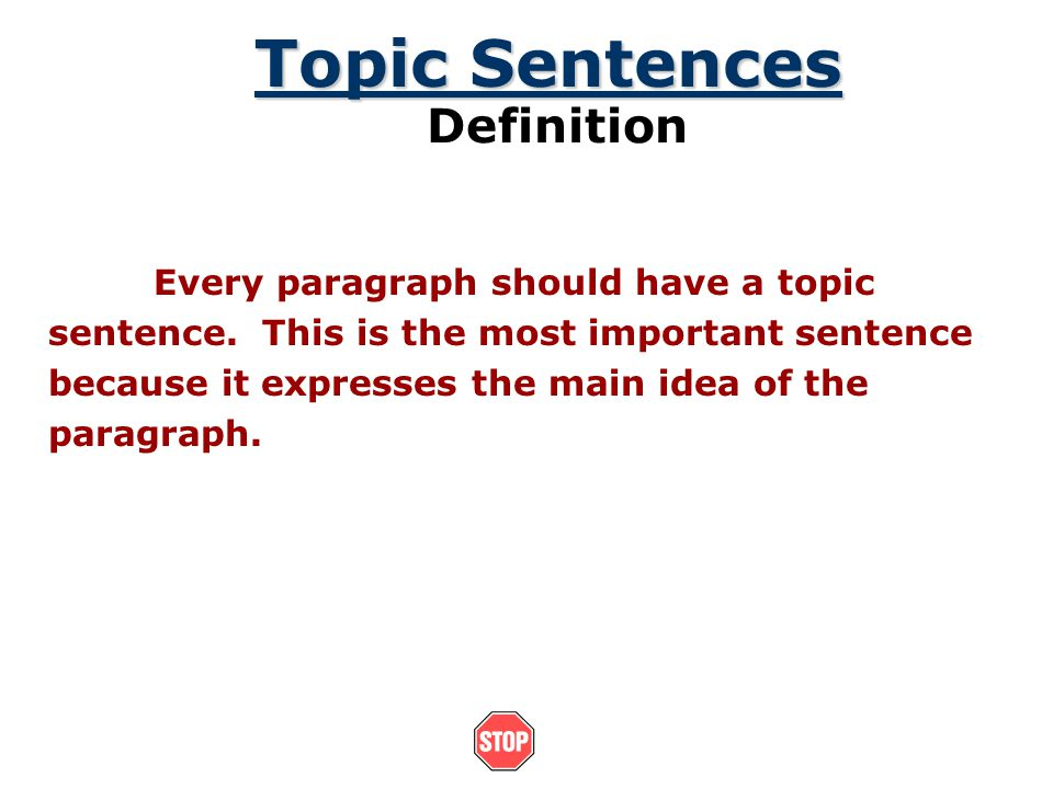 definition paragraph topics A definition paragraph is a paragraph explaining a term or subject, so your audience comprehends the topic of the paragraph this can be done in three different ways: synonym, class, and negation synonym is explaining the term by using the words that mean the same thing.
