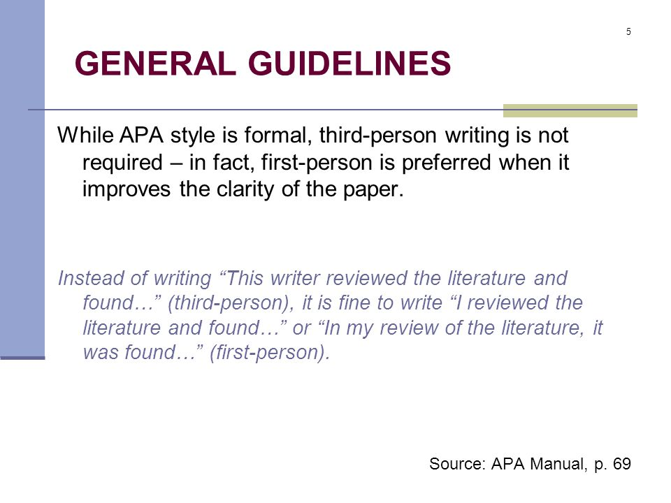 apa style paper written in third person