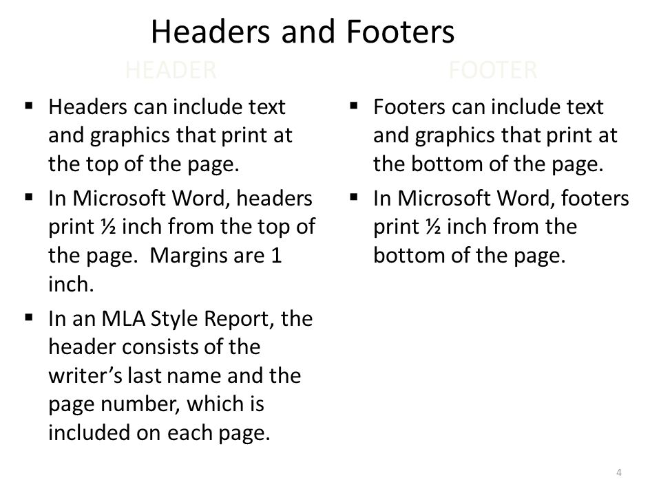 headers and footers in essays