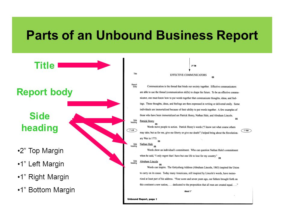 parts of business report