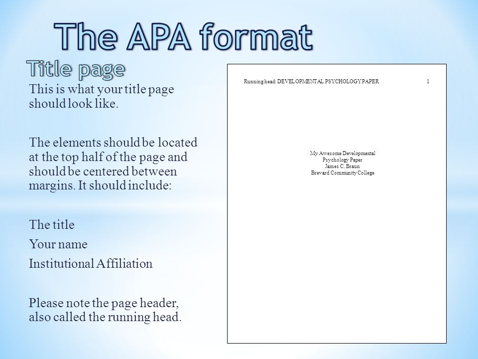 what s apa format look like