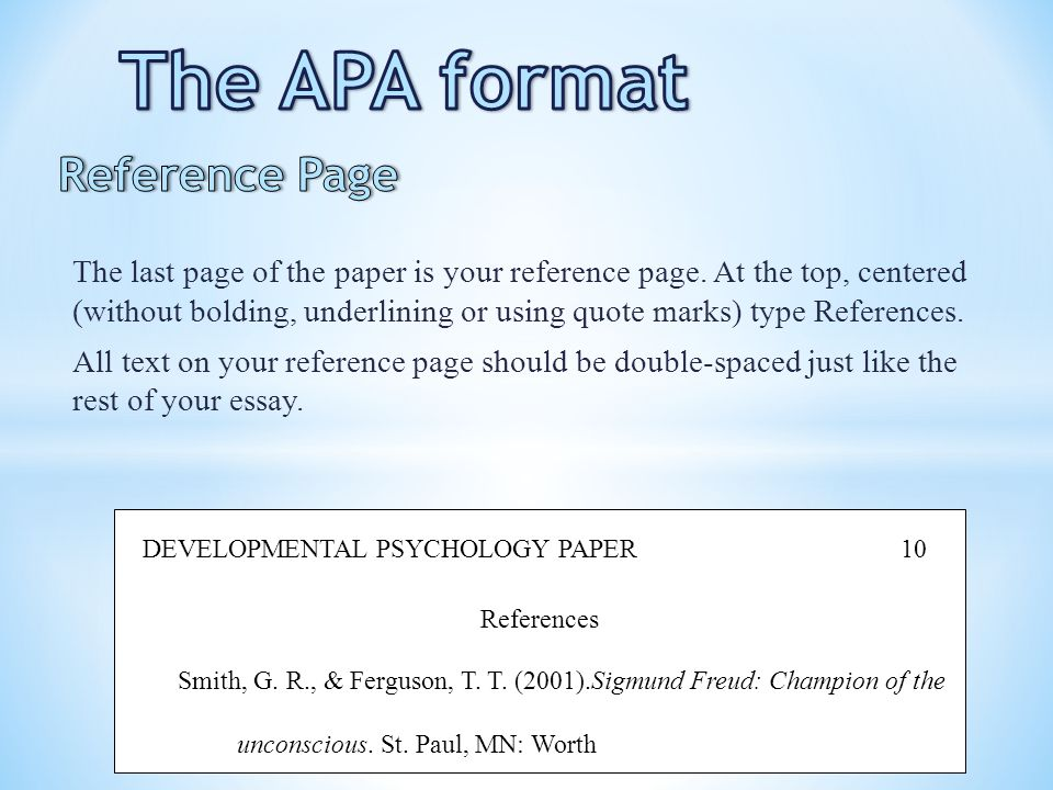 The APA format Reference Page