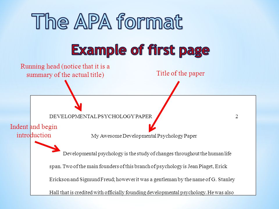 The APA format Example of first page