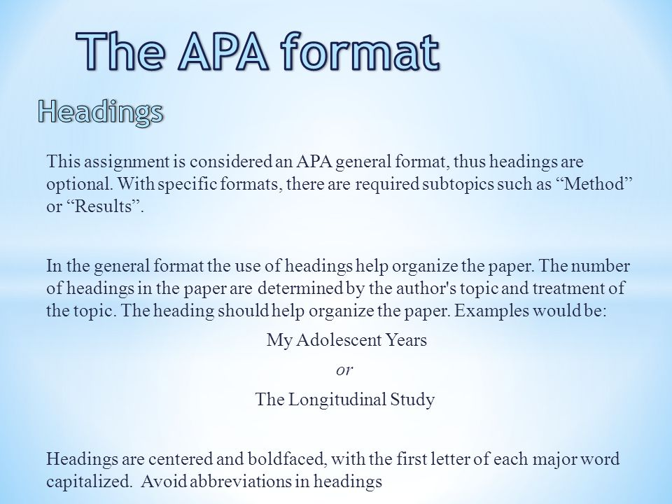 APA 6th edition: Assignments & Samples
