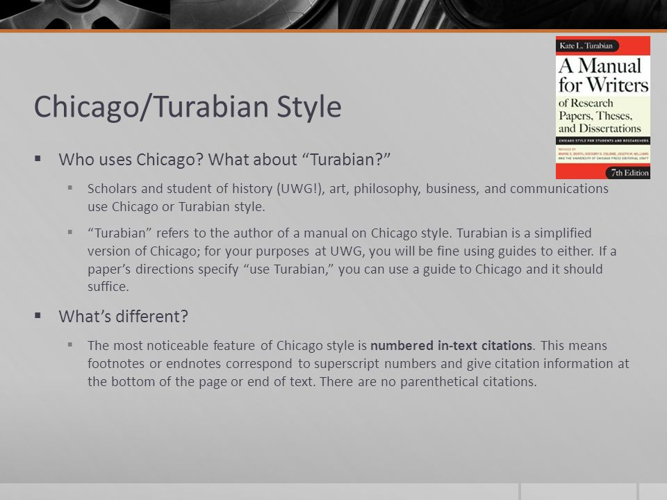 turabian style paper heading Source citations in the turabian manual come in two varieties: (1) notes and bibliography (or simply notes) and (2) author-date these two systems are also sometimes referred to as chicago-style citations, because they are the same as the ones presented in the chicago manual of style.