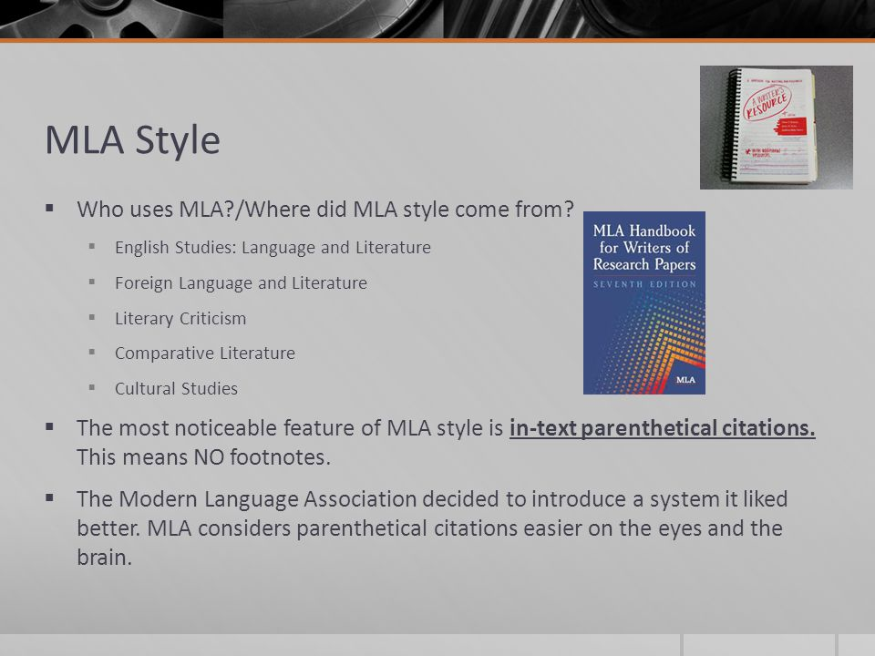 mla formatting style Mla style is a system for documenting sources in scholarly writing for over half a century, it has been widely adopted for classroom instruction and used worldwide by scholars, journal publishers, and academic and commercial presses works today are published in a dizzying range of formats on the.
