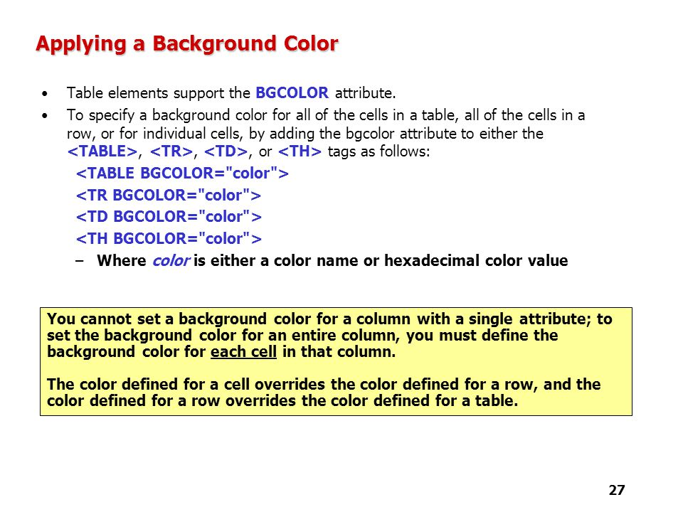 Tutorial 4 Designing A Web Page With Tables Ppt Video Online Download. Set Background Color ...  sc 1 st  Table \u0026 Chair Sets & Inspiring Set Table Background Color Contemporary - Best Image ...