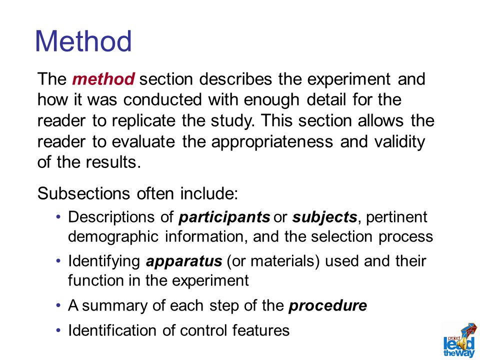 Organizing and presenting information in research reports ppt 11 apa style virtual academy method the method section pronofoot35fo Image collections