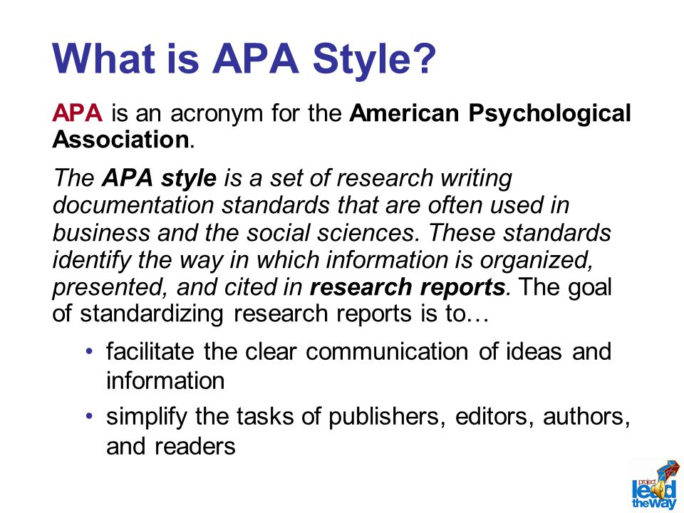 apa format stands for