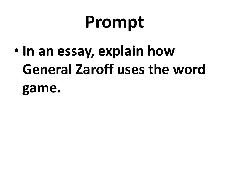 the most dangerous game general zaroff essay Writing an argument based on the most dangerous game, part 3 a teacher instructs students to write an argumentative essay about the most dangerous game rainsford is humbled by zaroff's game which is the most effective concluding statement.
