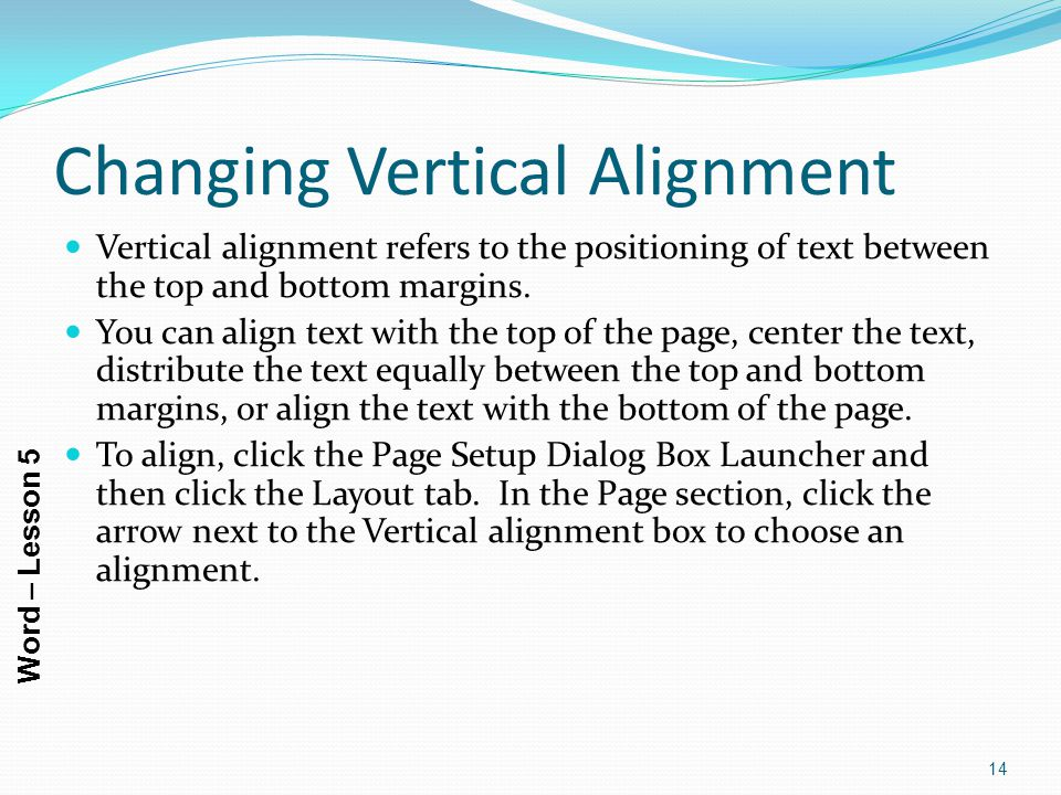 Changing Vertical Alignment