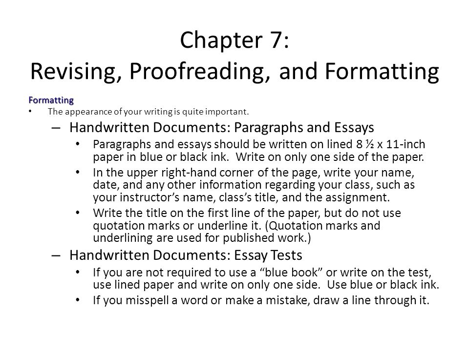 chapter revising proofreading and formatting ppt video  chapter 7 revising proofreading and formatting