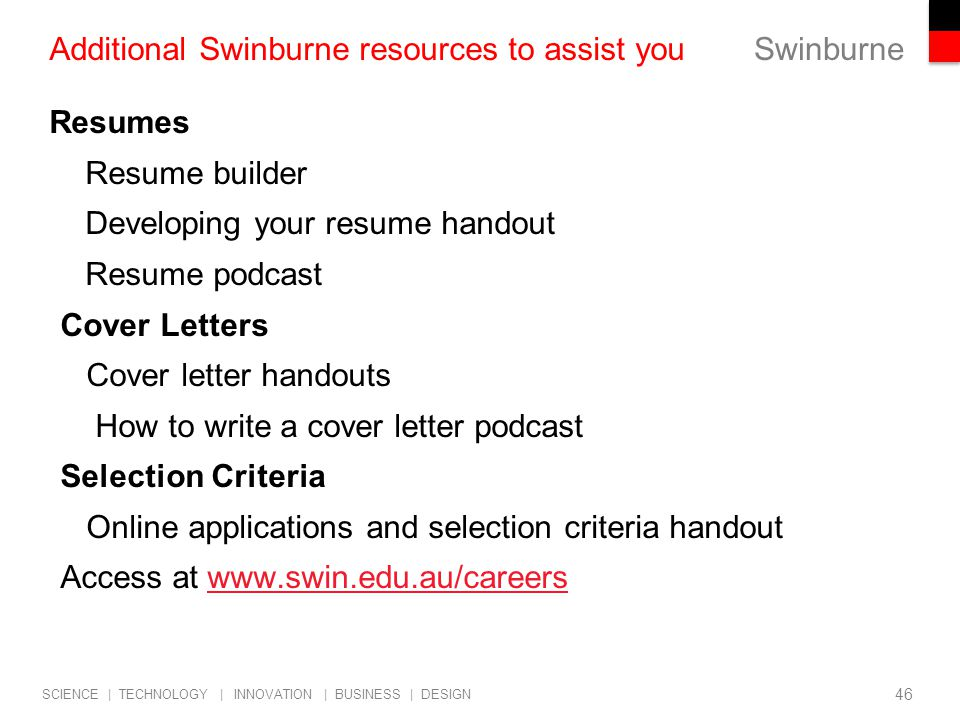 cover letter podcast selection criteria online applications and selection criteria handout access at additional swinburne resources to assist you - Cover Letters For Online Applications