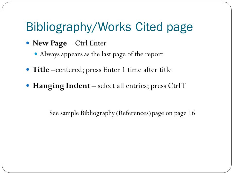 Bibliography/Works Cited page